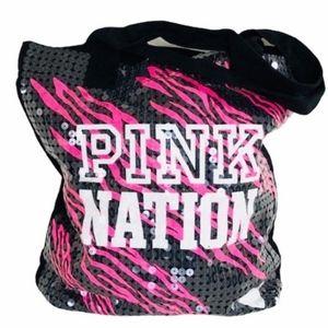 NWOT PINK Victoria's Secret Black Sequin Tote Bag